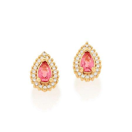 Brinco Dourado de Gota com Cristal Rosa e Zircônias Rommanel