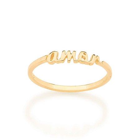 Anel Dourado Amor Rommanel