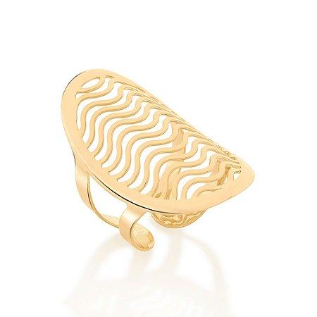 Anel Dourado Ajustável com Formato de Ondas Rommanel