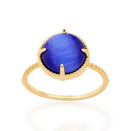 Anel Dourado com Pedra Olho de Gato Azul Rommanel