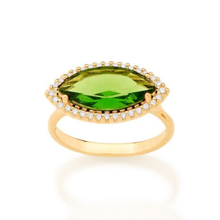 Anel Dourado com Zircônias e Cristal Verde Rommanel
