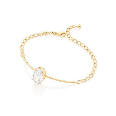 Bracelete Dourado com Zircônia Rommanel