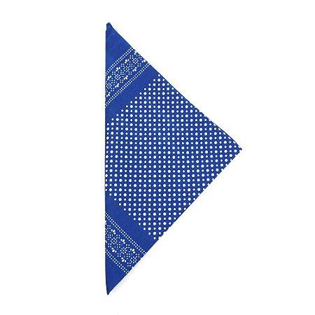 Lenço Tipo Bandana Azul com Bolinhas