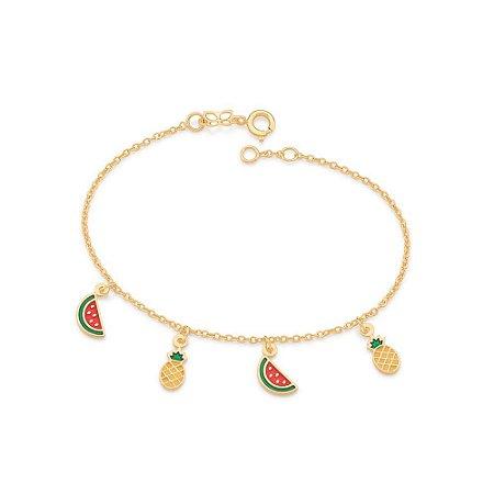 Pulseira Dourada com Pingentes de Frutas Rommanel