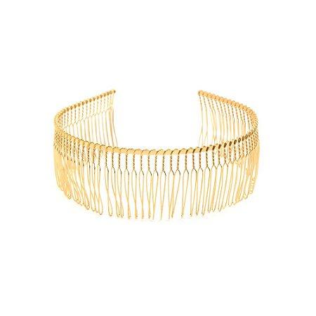 Tiara Pente em Metal Dourado