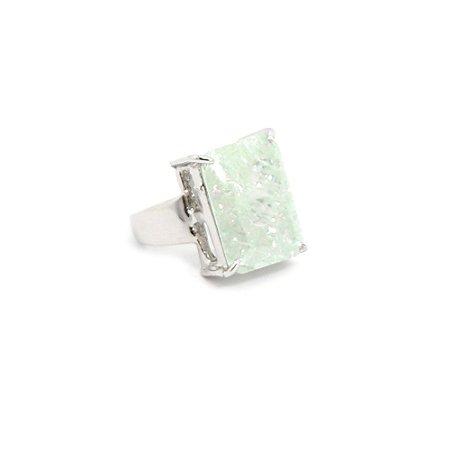 Anel com Pedra Facetada Verde