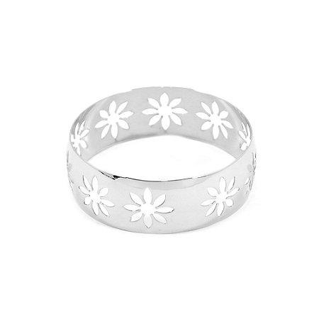 Pulseira Bracelete Prateado Com flores