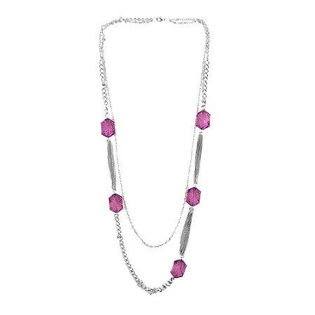 Colar Longo Duplo com Pedras Pink e Correntes