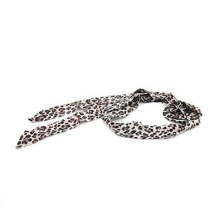 Headband Turbante Animal Print Marrom com Flor