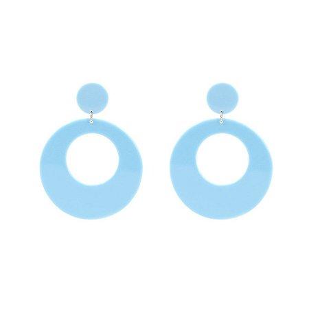 Brinco Argola Acrílica Azul
