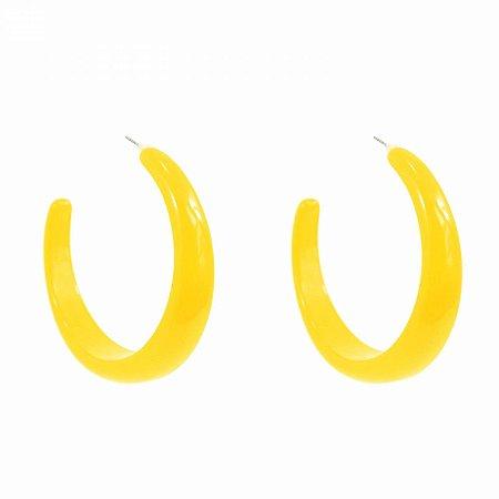 Brinco Argola de Acrílico Amarelo