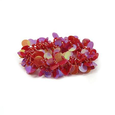 Scrunchie vermelho com Paetê