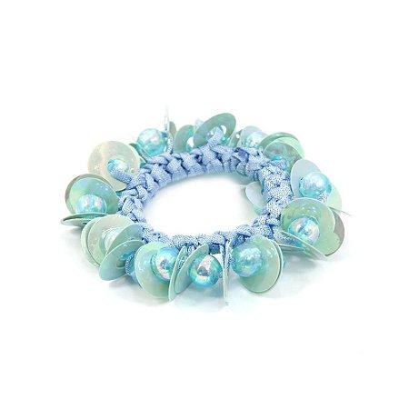 Scrunchie Azul de Paetê