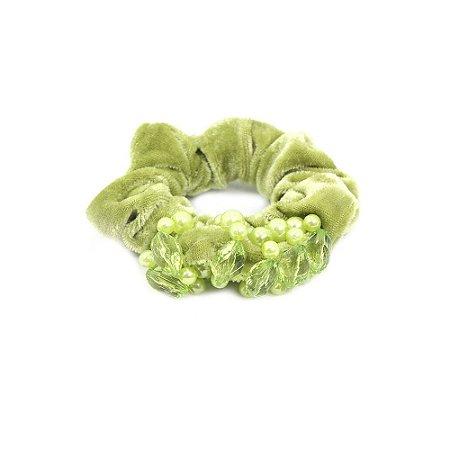 Scrunchie Verde com Pérolas e Pedras