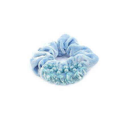 Scrunchie Azul com Pérolas e Pedras