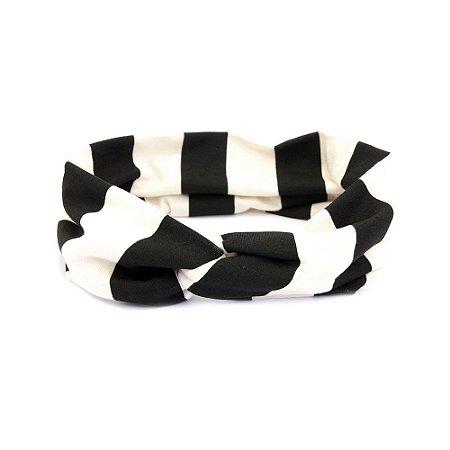 Headband Turbante Com Listras Preto