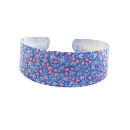 Tiara Larga Azul Com Florzinhas