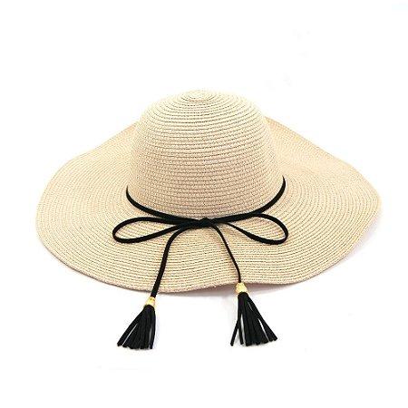 Chapéu Marfim Com Laço e Tassel