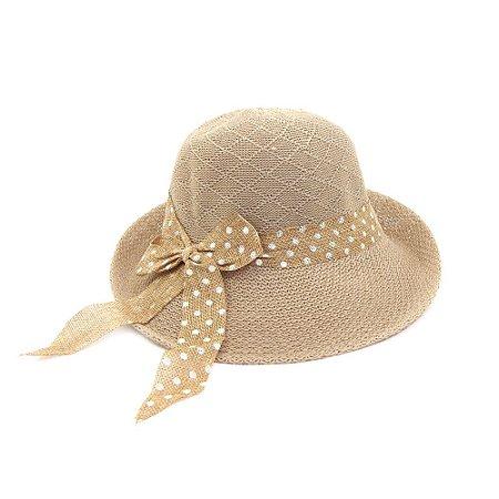 Chapéu Marfim com Faixa e Laço Poá