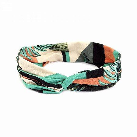 Headband Turbante Verde com Estampa