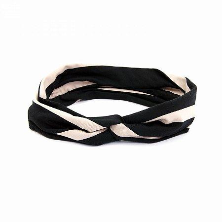 Headband Turbante Listrada Preta e Off White