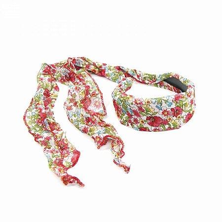 Tiara Floral Branca com Vermelha