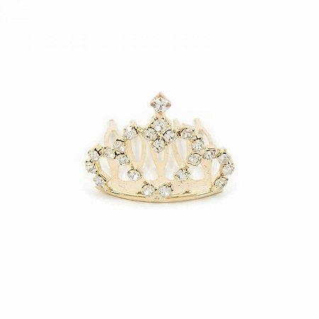 Mini Coroa Coração de Strass Dourada Princess