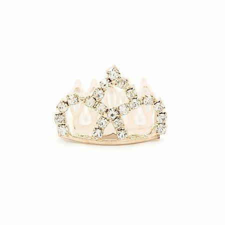 Mini Coroa de Strass Dourada Princess