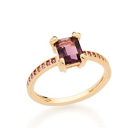 Anel Skinny Ring Retangular Roxo Rommanel