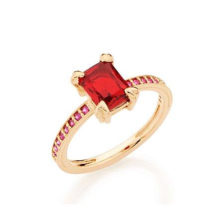 Anel Skinny Ring Retangular Vermelho Rommanel