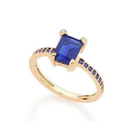 Anel Skinny Ring Retangular Azul Rommanel