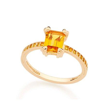 Anel Skinny Ring Retangular Amarelo Rommanel