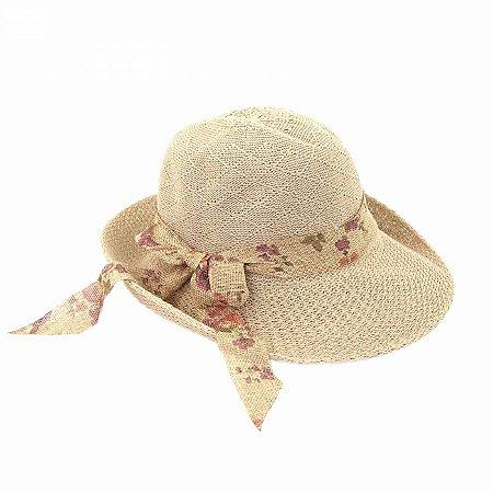 Chapéu Marrom com Laço Floral