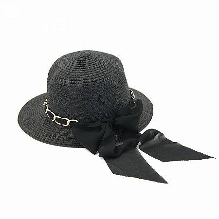 Chapéu Preto tipo Viseira com Corrente