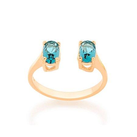 Anel Aro Ajustável Cristal Azul Rommanel