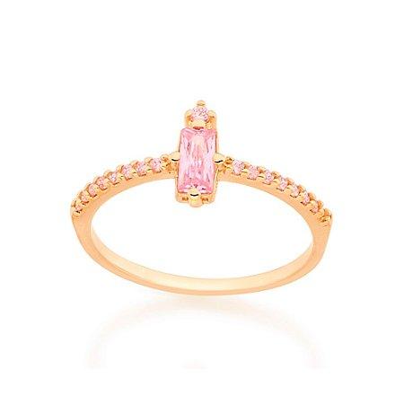 Anel Skinny Ring Zircônia Rosa Rommanel