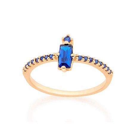 Anel Skinny Ring Zircônia Azul Rommanel
