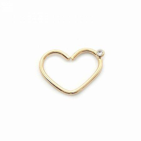 Piercing Argola em Coração Dourado Folheado com Zircônia