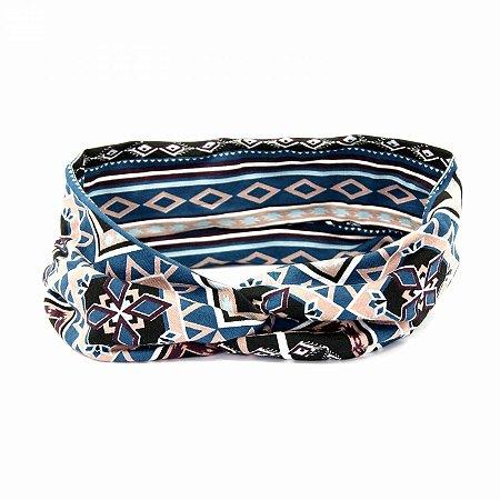 Headband Turbante Étnica Azul Petróleo e Preto