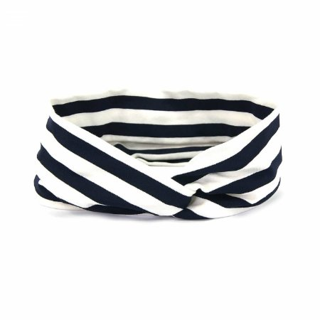 Headband Turbante Listrada Azul e Branca