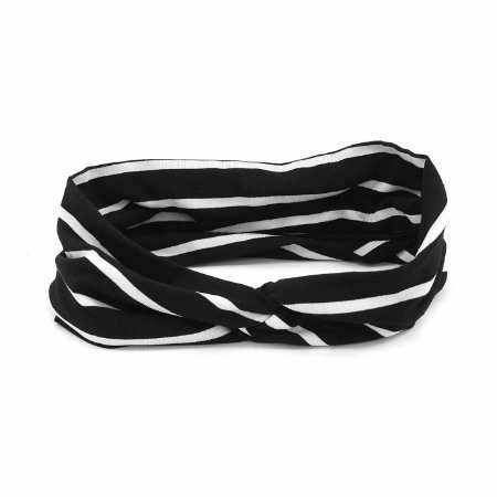 Headband Turbante Listrada Preto e Branco