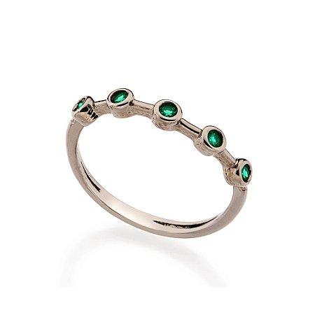 Anel Skinny Ring Cravejado Verde Rommanel