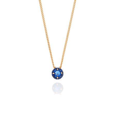 Gargantilha Fio Grumet Pedra Azul Rommanel
