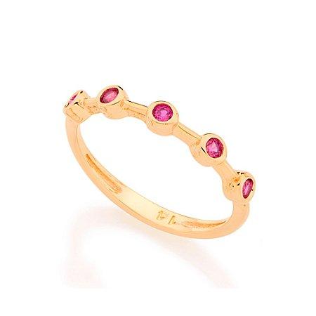 Anel Skinny Ring Cravejado Rosa Rommanel