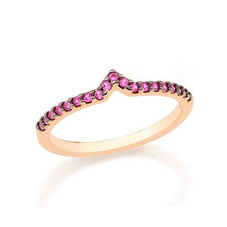 """Anel Skinny Ring Formato """"v"""" Rosa Rommanel"""
