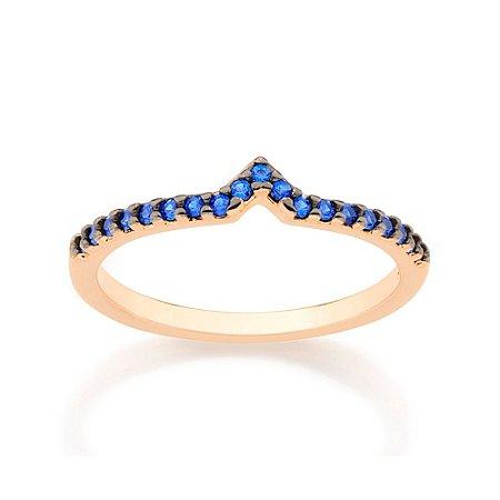 "Anel Skinny Ring Formato ""v"" Azul Rommanel"