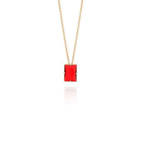 Gargantilha Cristal Retangular Vermelho Rommanel