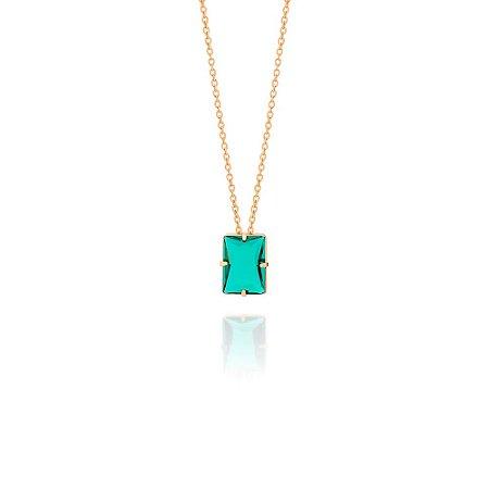 Gargantilha Cristal Retangular Verde Rommanel