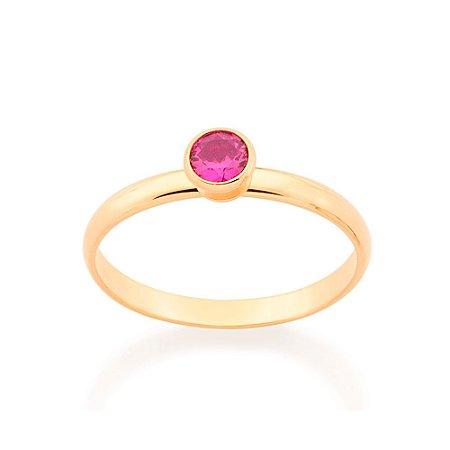 Anel Skinny Ring Solitário Rosa Rommanel