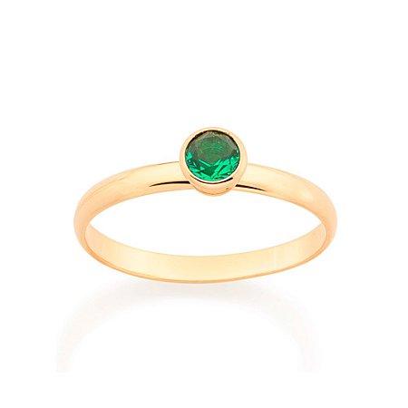 Anel Skinny Ring Solitário Verde Rommanel